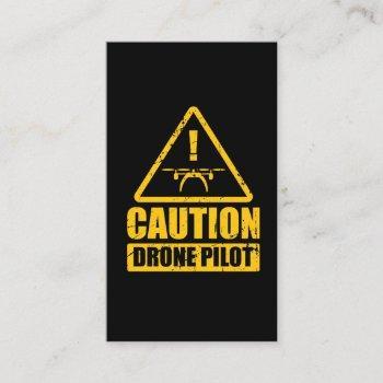 caution drone pilot aircraft camera business card