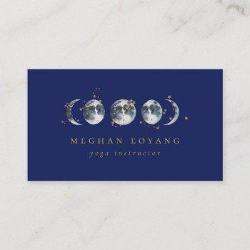 celestial starry moon phase | navy blue business card