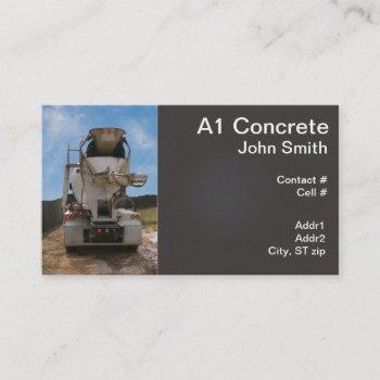 cement truck at construction site business card