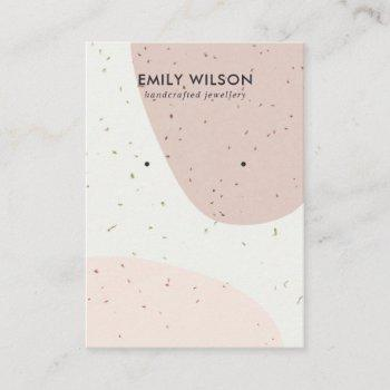 ceramic peach pink blush wave stud earring display business card