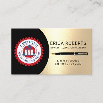 certified notary signing agent black & gold business card