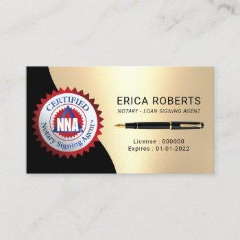 certified notary signing agent modern black & gold business card