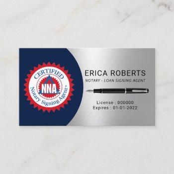 certified notary signing agent navy & silver business card