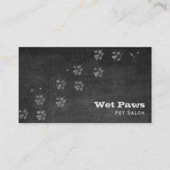 chalkboard dog grooming services business card
