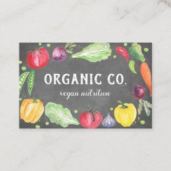 chalkboard fresh watercolor organic  vegetables business card