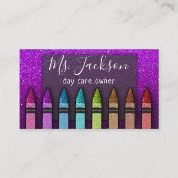 chalkboard teacher's name rainbow glitter crayons business card
