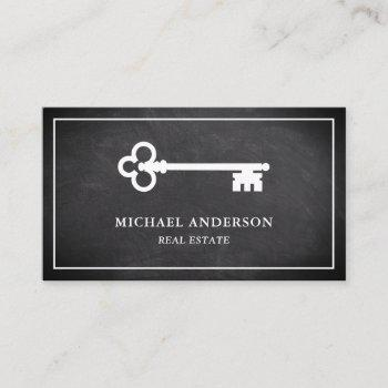 chalkboard vintage antique key real estate business card