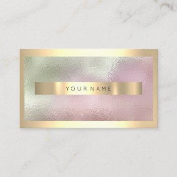 champaign gold frame metallic ombre mint pink business card