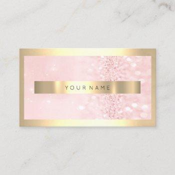 champaign gold frame metallic sparkly pink glitter business card