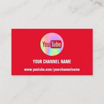 channel name you tuber logo qr code holograph red business card