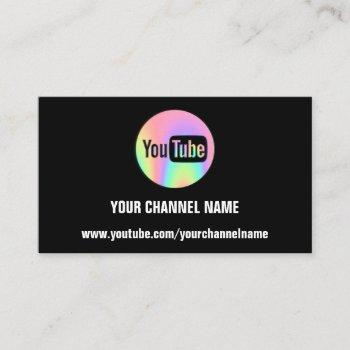 channel name you tuber logo qr code holographic business card