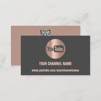 channel name youtuber logo qr code gray business card
