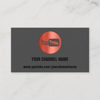 channel name youtuber logo qr code red business card
