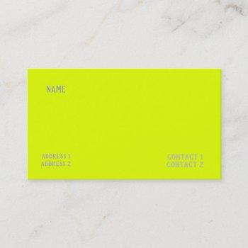 chartreuse yellow solid color business card