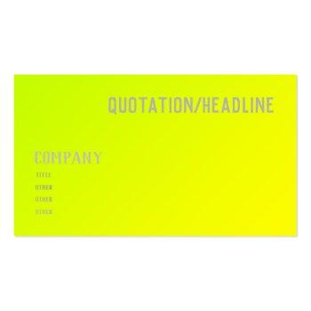 Small Chartreuse Yellow Solid Color Business Card Back View