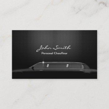 chauffeur driver luxury black metal business card