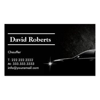 Small Chauffeur Taxi Driver Professional Dark Business Card Front View