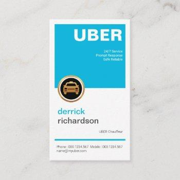 cheerful bright blue simple square placard taxi business card