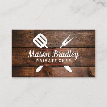 chef | bbq cooking | wood background business card