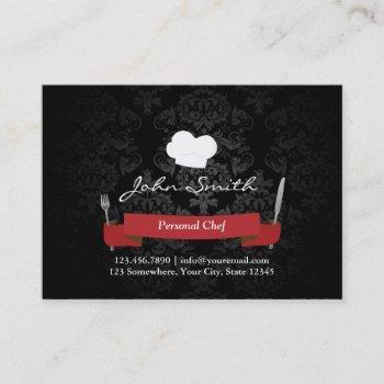 chef catering restaurant elegant black damask business card
