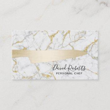 chef gold knife catering modern white marble business card