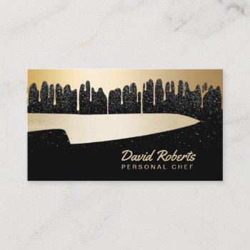 chef knife catering restaurant modern black & gold business card