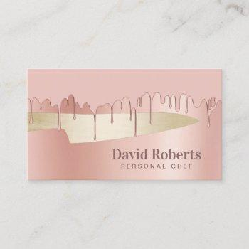 chef knife catering restaurant modern rose gold business card