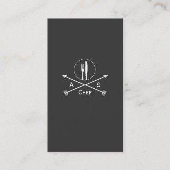 chef retro arrows and cutlery hip black catering business card
