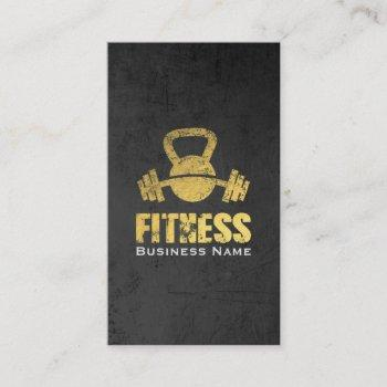 chic black gold fitness trainer kettlebell barbell business card