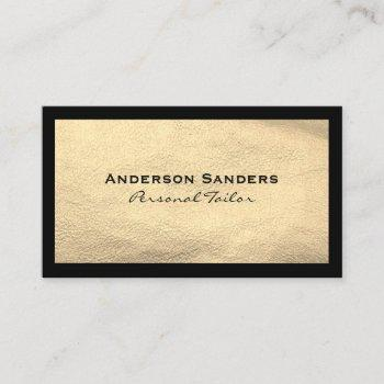 chic black gold leather business card