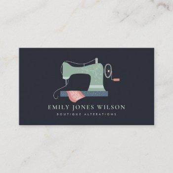 chic black green orange pink sewing machine tailor business card