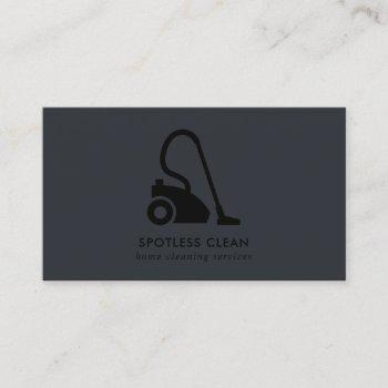 chic black simple vacuum cleaner cleaning service business card