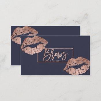 chic brows typography lips faux rose gold business card
