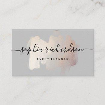 chic brush stroke | faux rose gold on soft gray business card