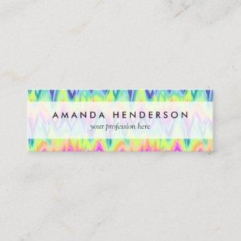chic colorful abstract neon chevron pattern mini business card