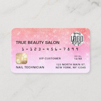 chic coral pink sequin glitter credit card logo