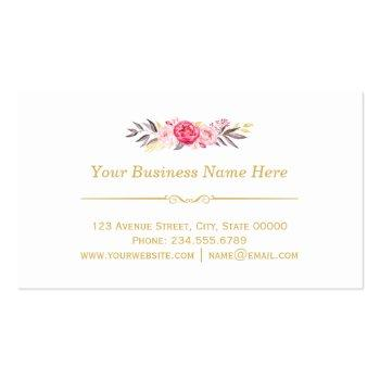 Small Chic Floral Gold Frame Makeup Artist Beauty Salon Business Card Back View