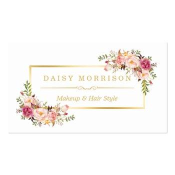Small Chic Floral Gold Frame Makeup Artist Beauty Salon Business Card Front View