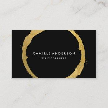 chic gold and black circle business card