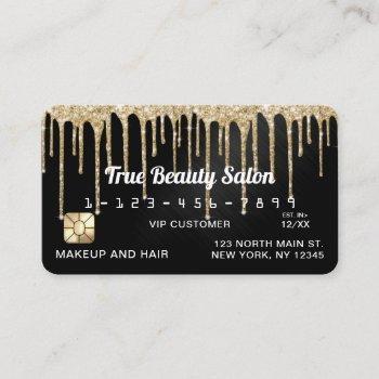 chic gold black metallic glitter drips credit business card