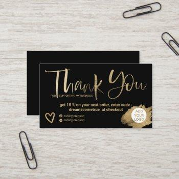 chic gold brush font black chic order thank you business card