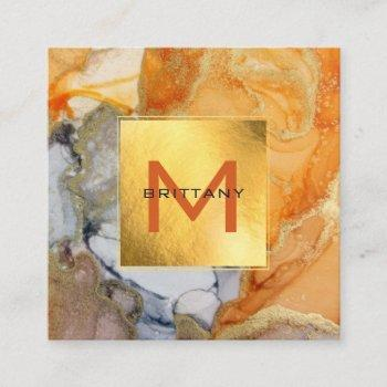 chic gold foil grey and amber custom diy  square b square business card