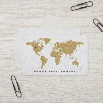 chic gold foil world map travel agency or blogger business card