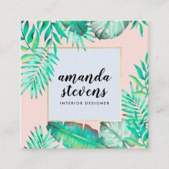 chic gold frame blush pink watercolor tropical square business card