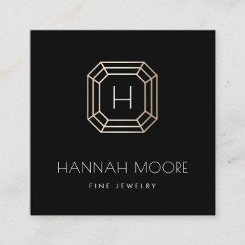 chic gold gemstone monogram jeweler logo square business card