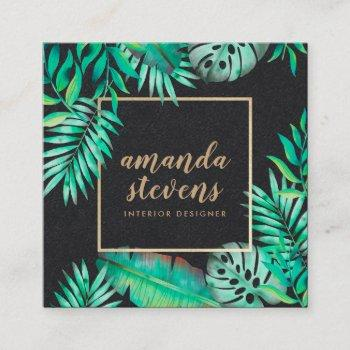 chic gold glam border watercolor tropical kraft square business card