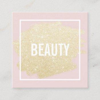 chic gold glitter brushstroke blush pink beauty square business card