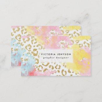 chic gold leopard pattern watercolor brushstrokes business card
