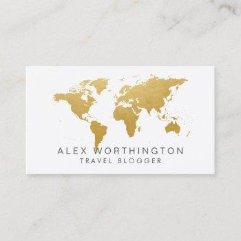 chic gold world map international business card
