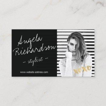 chic handwritten fashion stylist actor model photo business card